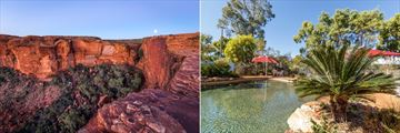 Kings Canyon rim walk (left), and Kings Canyon Resort pool (right)