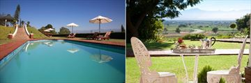 Main Pool and The View from a Luxury Room at La Plume Guesthouse