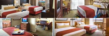 Lake Powell Resort, (clockwise from top left): Lake View Room, Traditional King Room, Marina View Room and Suite