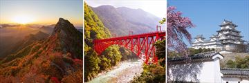 Land of the Rising Sun; Autumn Leaves Sunrise Mt Ishizuchi, Shin Yamabiko Red Bridge Kurobe Gorge, Himeji Castle