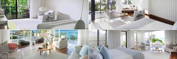 Lizard Island Resort, (clockwise from top left): Garden View Room, Ocean View Plunge Pool Villa, Beachfront Suite and The Pavillion
