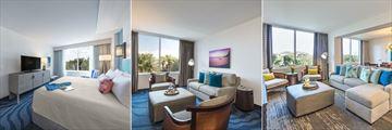 Loews Sapphire Falls Resort, King Suite Bedroom, King Suite Living Room and Sapphire Suite Living Room