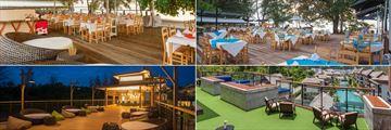 Mai Khao Lak Beach Resort & Spa, (clockwise from top left): Talay Thai, The Beach Seafood, The Sky Restaurant and Music & Wine Bar