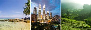 Malaysia; Tropical Beach, Petronas Towers at night,Cameron Highlands Peak Tea Plantation
