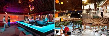 Meeru Island Resort & Spa, (clockwise from left): Dhoni Bar, Asian Wok, Meeru Cafe, Dhoni Bar in Daytime and Hot Rock Bar