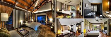 Meritus Pelangi Beach Resort & Spa, (clockwise from left): Beachfront Room, Garden Room, Bathroom, Lake Front Room and Pelangi Suite