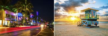 Miami's Art Deco District & Beach at Sunset
