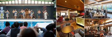 Millennium Hotel, (clockwise from left): Feast & Revue - Dining and Maori Revue Concert, Bar Zazu, Brassierie Poolside Restaurant and Restaurant Nikau