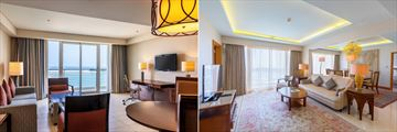 One Bedroom Apartment lounge and Royal Suite lounge at Millennium Resort Mussanah