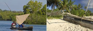 Traditional Canoe and Fishing Dhow Boat Trips at Msambweni Beach House & Private Villas