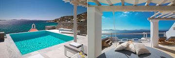 Suite with Private Pool and Executive Suite terrace at Mykonos Grand Hotel & Resort