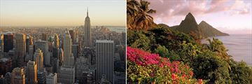 New York skyline & St Lucia landscapes at dusk