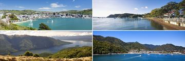 Clockwise from top left: Wellington Bay, Russell Bay, Charlotte Sound and Lake Te Anau