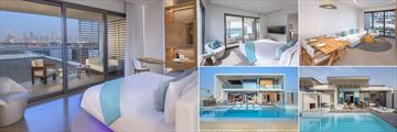 Nikki Beach Resort & Spa Dubai, (clockwise from left): Covet Room, Signature Suite Living Area, Luux Suite, Nikki Beach Villa and Ultimate Beach Villa