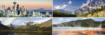 Clockwise from top left: Seattle, Oregon, Yellowstone National Park and Glacier National Park
