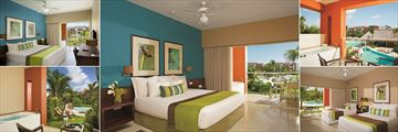 Now Garden Punta Cana, (clockwise from top left): Deluxe Garden View, Deluxe Garden Pool View Bedroom and Balcony, Deluxe Garden Swim-Up Bedroom and Terrace