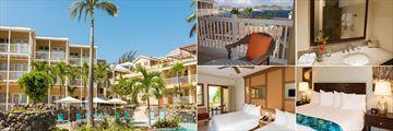 Ocean Terrace Inn, (clockwise from left): Luxury Poolside/Garden View Rooms Exterior, Balcony, Bathroom, Superior Hillside/Ocean View Room and Luxury Poolside/Garden View Room