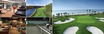 Omni Hilton Head Oceanfront Resort, (clockwise from top left): Gym, Fazio Golf Course, Golf, Tennis and The Spa