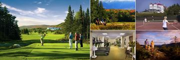 Omni Mount Washington Resort, (clockwise from left): Golf, Horseback Riding, Tennis, Hiking and Fitness Centre