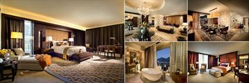 One&Only Cape Town, (clockwise from left): Presidential Suite Master Bedroom, Entrance, Dining Area, Second Bedroom and Bathroom