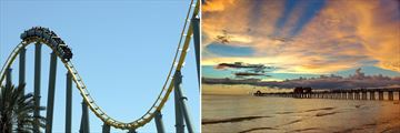 Orlando Rollercoaster & Naples Pier on the Beach