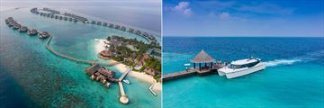 Aerial view and arrival jetty at Ozen Reserve Bolifushi