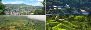 Temple of the Sacred Tooth, Panoramic view of Kandy, Nuwara Eliya & Sri Lankan tea plantation