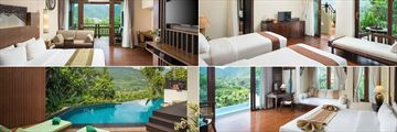 Panviman Resort Chiang Mai, (clockwise from top left): Sky Mountain Junior Suite, Steam Villa, Viman Pool Villa and Viman Pool Villa Pool and Deck