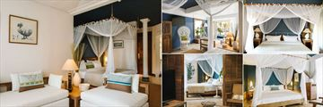 Paradise Cove Boutique Hotel, (clockwise from left): Club Junior Suite Bedroom, Living Area, Deluxe Room, Deluxe Premium Room and Club Senior Suite