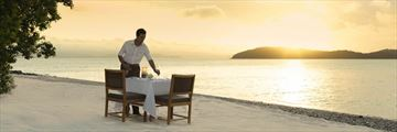 Private dining on Pebble Beach, Whitsundays