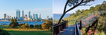 Perth skyline (left), and Kings Park Bridge (right)