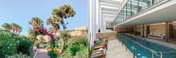 The gardens and indoor spa pool at Phoenicia Malta