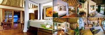 Qamea Resort & Spa Fiji, (clockwise from left): Honeymoon Bure, Royal Beach House, Beachfront Bure, Royal Beach House Living Area and Honeymoon Villa