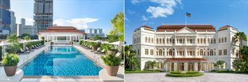 The pool and exterior at Raffles Singapore
