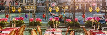 Waterfront restaurants near The Grand Canal, Venice, Italy