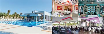 Riu Palace Mexico, (clockwise from left): El Palmeral Swim-Up Bar, La Dolce Vita Italian Restaurant, Krystal Fusion Restaurant, Main Restaurant and Guacomole Beach Restaurant