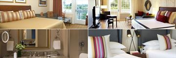 River Terrace Inn, (clockwise from top left): King Double Room, Kng Room, Village Deluxe Room Two Queens and Bathroom