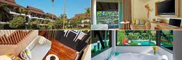 Garden Wing (top left), Thai Village Wing Deluxe Pool View (right), and Thai Village Wing Deluxe Family Duplex (bottom left), at Amari Koh Samui