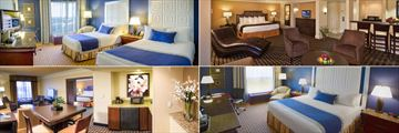 Clockwise from top left: Double Room, Junior Suite, King Room and Executive Suite at Rosen Plaza