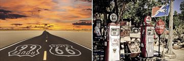 Iconic Route 66 roads and retro fuel pumps