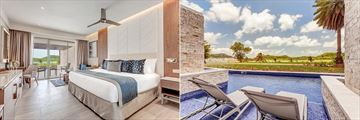 Interior view of the Diamond Club Luxury Junior Suite Swim-Out and the suite's pool at Royalton Antigua