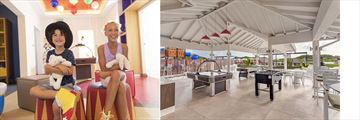 Split image. Left image is two children at a kids club. Right image is a lounge with games for teens at Royalton Antigua