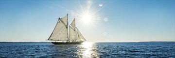 Sailing along coast Lunenburg, Nova Scotia