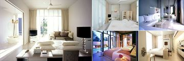 SALA Phuket Resort & Spa, (clockwise from left): One Bedroom Duplex Pool Villa, Garden Pool Villa, One Bedroom Pool Villa, Deluxe Balcony and SALA Pool Villa