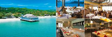 Sandals Halcyon Beach St. Lucia, Kelly's Dockside Restaurant and Pier, Beach Bistro, Mario's, Kimonos and Soy - Sushi Bar