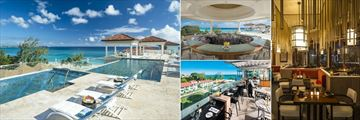 Sandals Royal Barbados, (clockwise from left): Rooftop Pool Restaurant and Bar, Rooftop Bar, Chi Restaurant and La Parisienne Restaurant