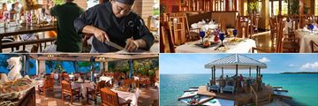 Sandals South Coast, (clockwise from top left): Sushi on the Sand, Jasmines, Overwater Bar and Neptunes
