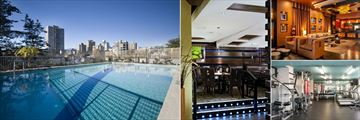 Sandman Suites Vancouver - Davie Street, (clockwise from left): Pool, Moxie's Grill & Bar, Lobby and Fitness Centre