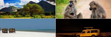 Savannah landscapes, wildlife & night game drive and Mombasa Beach