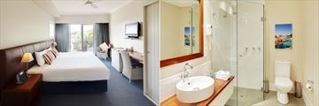 Seashells Yallingup Resort, Studio Spa Room Bedroom and Bathroom